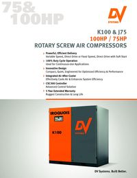 DV SYSTEMS, K100 & J75 ROTARY SCREW AIR COMPRESSOR