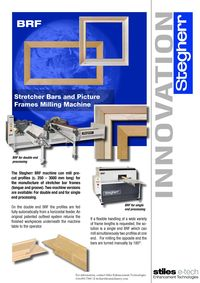 STEGHERR, BRF STRETCHER BARS AND PICTURE FRAME MILLING MACHINE LITERATURE